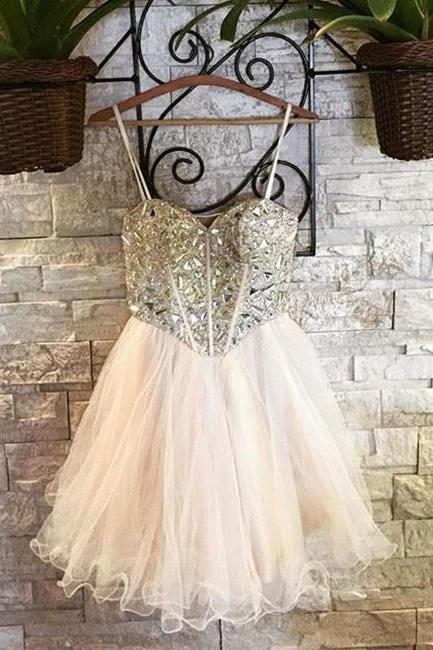 Cute Sweetheart Beaded Tulle Homecoming Dress,Short Light Pink A Line Prom Dress