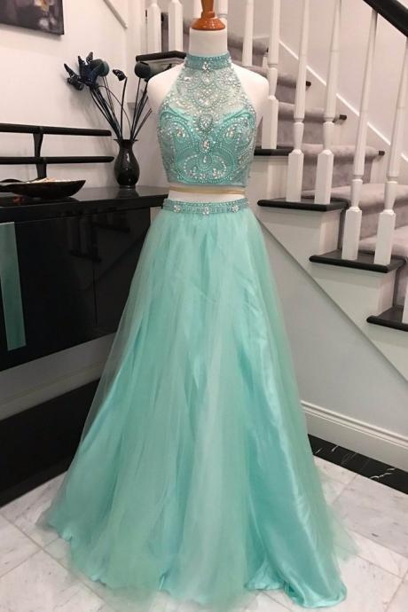 Light Blue High Neck Prom Dress,Two Pieces Beaded Tulle Homecoming Dress,Long A Line Prom Dresses
