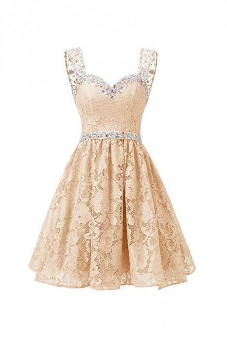 Champagne Sweetheart Lace Beading Homecoming Dress,Straps A Line Homecoming Dresses,Short Prom Dress