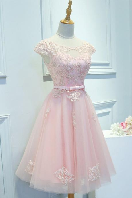 Pink Cap Sleeve Applique Short Prom Dress,Round Neck Bridesmaid Dress with Sash