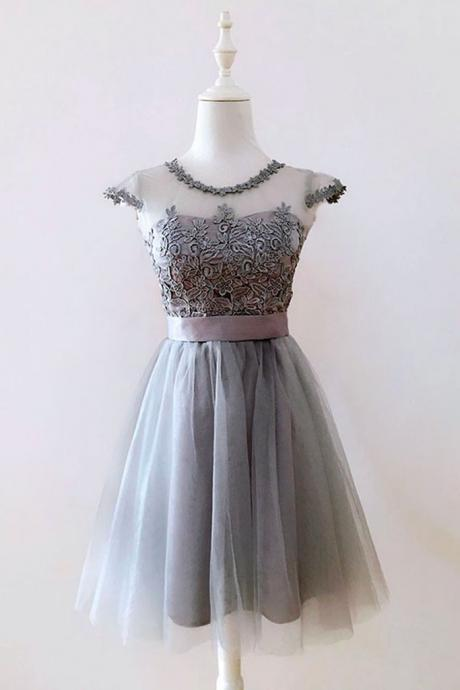 Cute gray tulle short prom dress,gray homecoming dress with sash