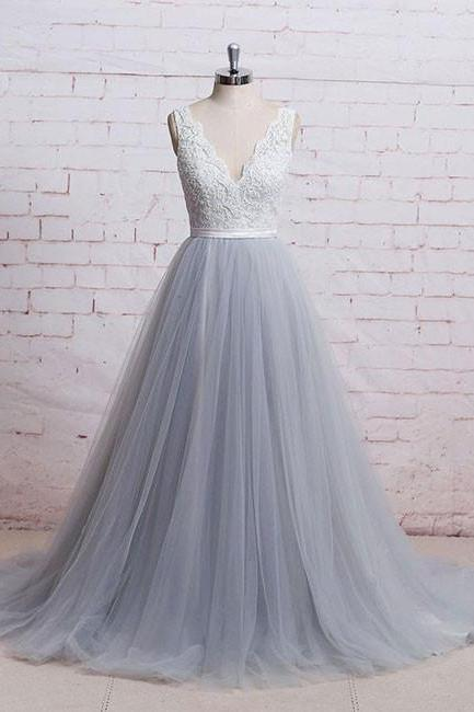 Elegant Gray V-Neck Tulle Lace Prom Dress,A-Line Long Prom Dress,Lace Evening Dress with Sash