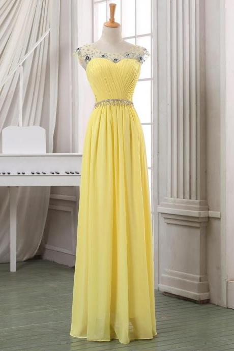 Yellow Chiffon Prom Dress,Long Evening Dress,Beading Party Dress,High Quality Elegant Prom Dress,Elegant Bridesmaid Dress