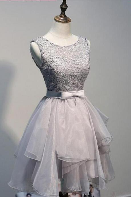 Grey Lace Sleeveless V Back Short Prom Dress,Cute A Line Homecoming Dress