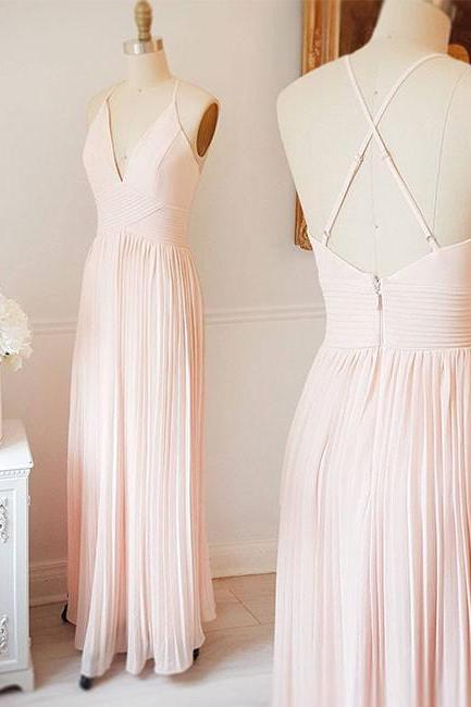 Pink Chiffon Floor Length V Neck Elegant Prom Dress