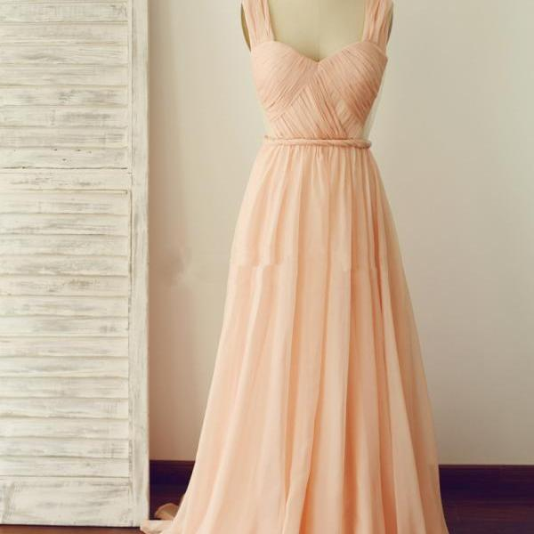 Simple A Line Backless Light Peach Chiffon Prom Dress,2017 Party Dress,Bridesmaid Dress