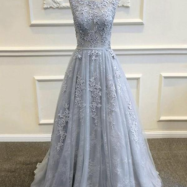 Elegant A-Line Appliques Grey Long Prom Dress,2017 Tulle A Line Evening Dress,Prom Gowns,Formal Women Dress