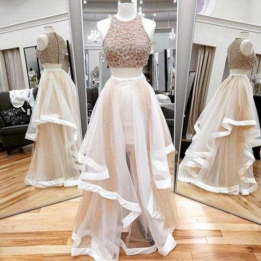 Champagne Two Pieces Beading Prom Dress,Tulle Floor Length Evening Dress,2017 New Arrival Formal Women Dress